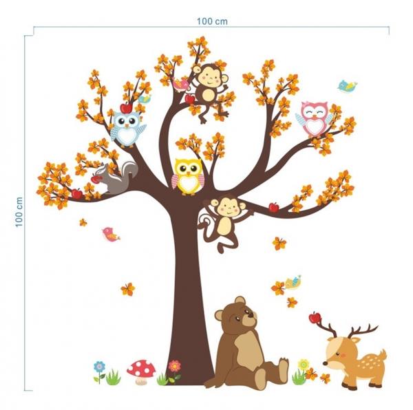 Sticker copii - Copac, frunze de toamna si animale 7