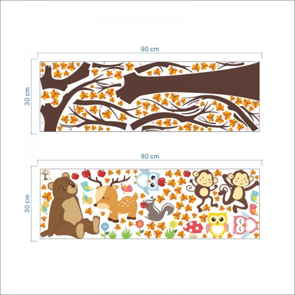 Sticker copii - Copac, frunze de toamna si animale 4