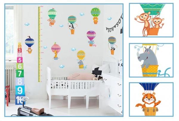 Sticker copii masurator inaltime cu animale in baloane cu aer cald - grafic de crestere 7