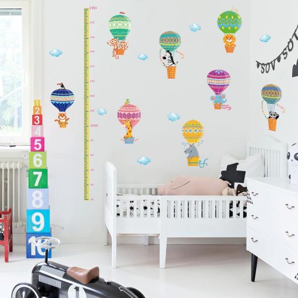 Sticker copii masurator inaltime cu animale in baloane cu aer cald - grafic de crestere 2
