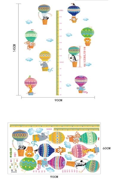 Sticker copii masurator inaltime cu animale in baloane cu aer cald - grafic de crestere 9