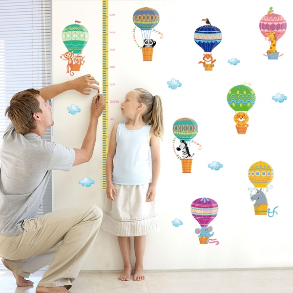 Sticker copii masurator inaltime cu animale in baloane cu aer cald - grafic de crestere 6