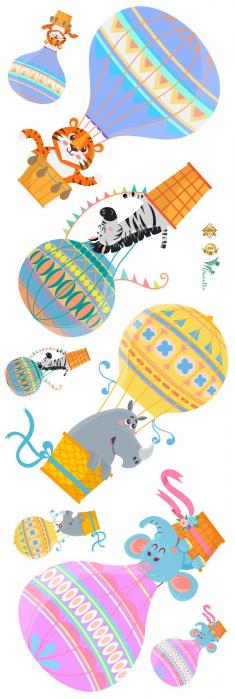 Sticker Copii Animale in Baloane cu Aer Cald 1