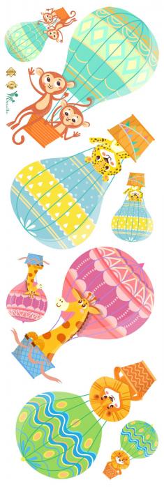 Sticker Copii Animale in Baloane cu Aer Cald 2