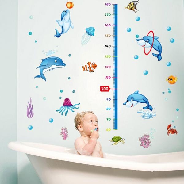 Sticker copii masurator inaltime - Joaca cu delfinii - Grafic de crestere 1