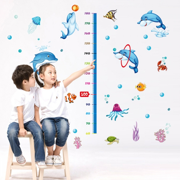 Sticker copii masurator inaltime - Joaca cu delfinii - Grafic de crestere 0