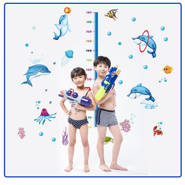 Sticker copii masurator inaltime - Joaca cu delfinii - Grafic de crestere 3