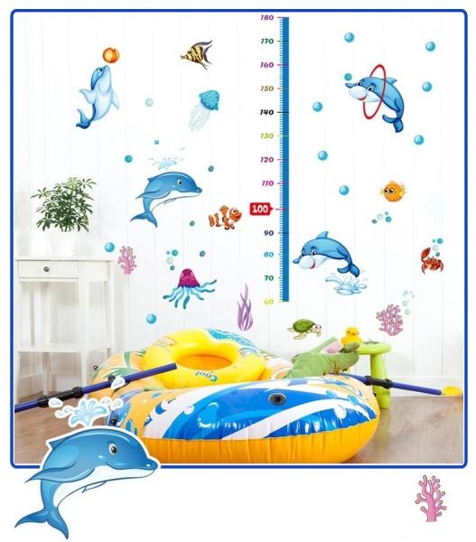 Sticker copii masurator inaltime - Joaca cu delfinii - Grafic de crestere 4