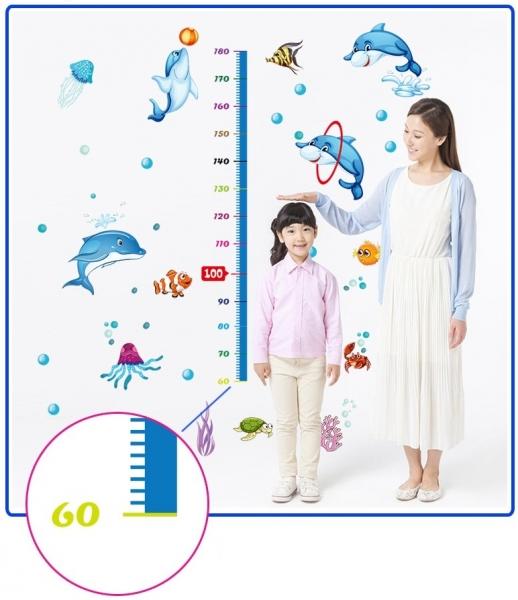 Sticker copii masurator inaltime - Joaca cu delfinii - Grafic de crestere 2