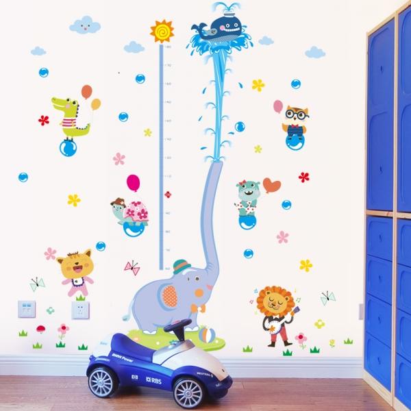 Sticker de perete camere copii - Grafic de crestere cu animale- masurator inaltime 0