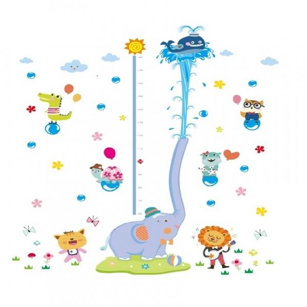 Sticker de perete camere copii - Grafic de crestere cu animale- masurator inaltime 7