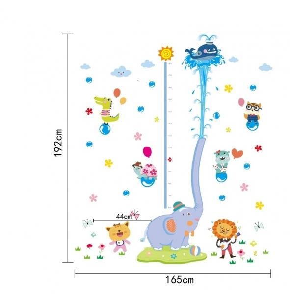 Sticker de perete camere copii - Grafic de crestere cu animale- masurator inaltime 5