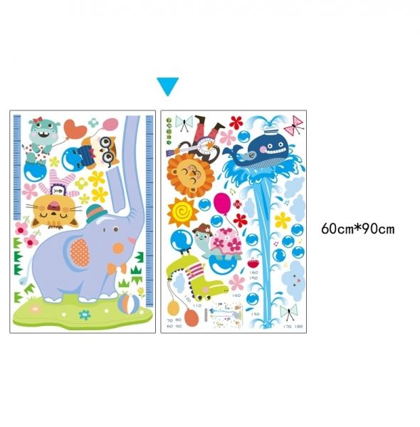 Sticker de perete camere copii - Grafic de crestere cu animale- masurator inaltime 6