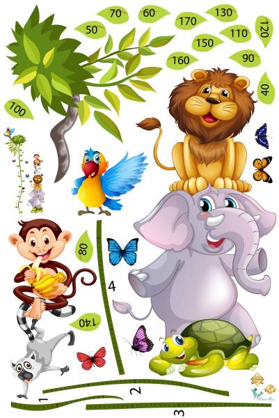 Sticker Grafic de crestere cu animale si fluturi - masurator inaltime - 90x170 cm 1