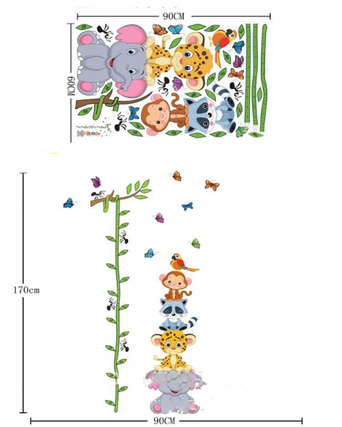 Sticker de perete copii - Grafic de crestere cu animale si fluturi - masurator inaltime 3