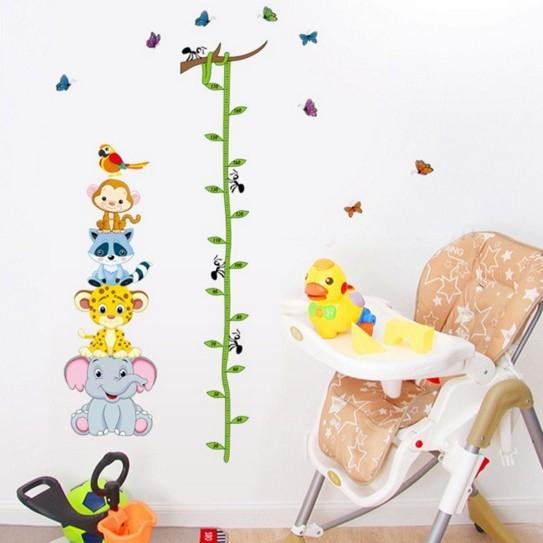 Sticker de perete copii - Grafic de crestere cu animale si fluturi - masurator inaltime 4
