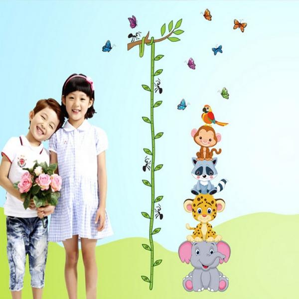 Sticker de perete copii - Grafic de crestere cu animale si fluturi - masurator inaltime 2