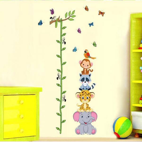 Sticker de perete copii - Grafic de crestere cu animale si fluturi - masurator inaltime 0