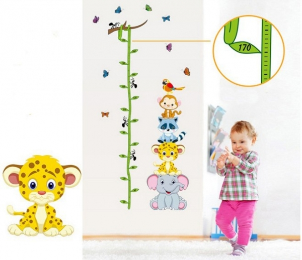 Sticker de perete copii - Grafic de crestere cu animale si fluturi - masurator inaltime 6