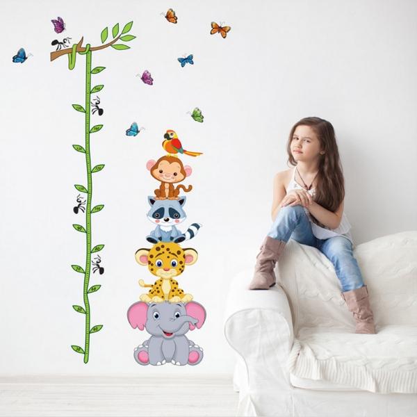 Sticker de perete copii - Grafic de crestere cu animale si fluturi - masurator inaltime 1
