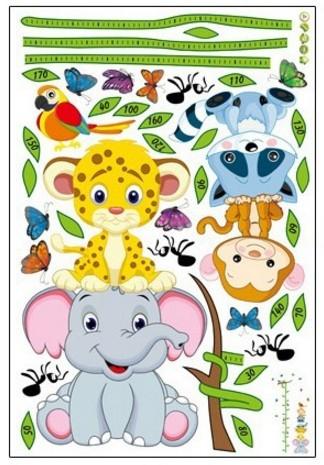 Sticker de perete copii - Grafic de crestere cu animale si fluturi - masurator inaltime 5