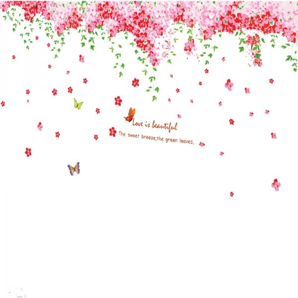 Sticker decorare camera - Flori de cires roz si fluturi 7