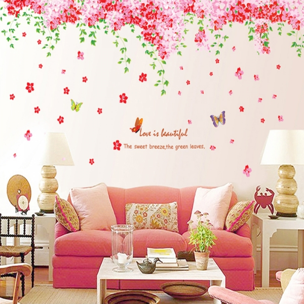 Sticker decorare camera - Flori de cires roz si fluturi 2