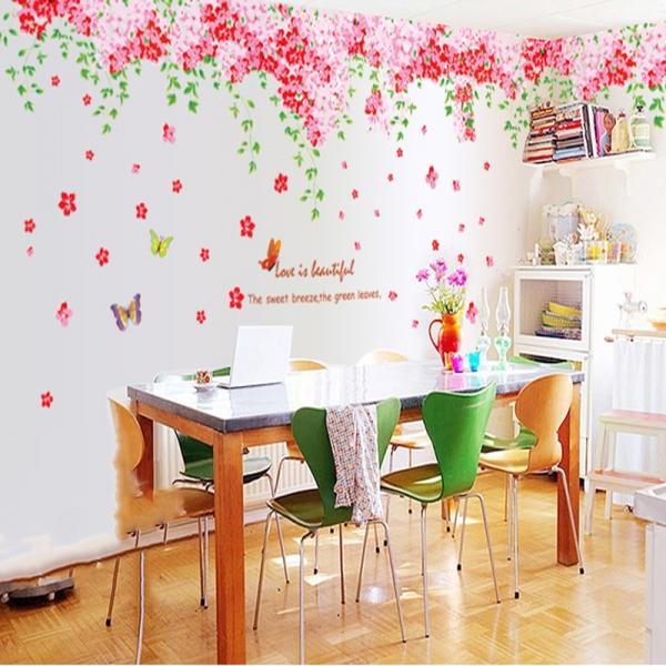 Sticker decorare camera - Flori de cires roz si fluturi 0