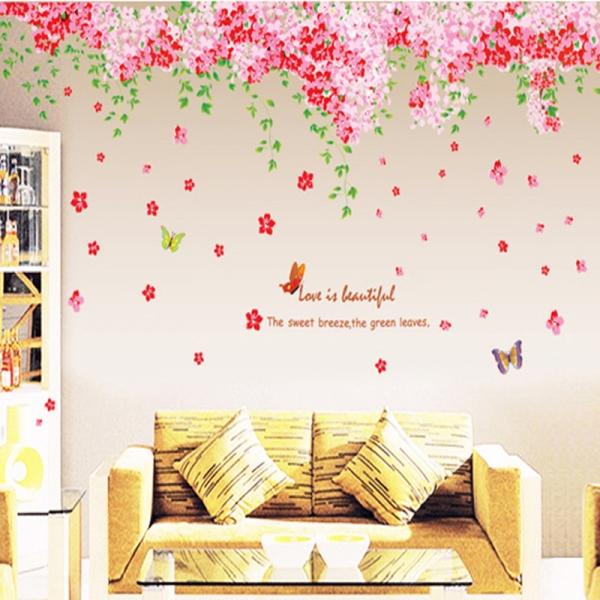 Sticker decorare camera - Flori de cires roz si fluturi 3