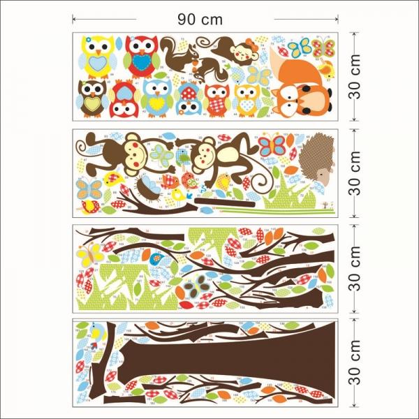 Sticker decorare camere bebelusi - Maimute si bufnite in copaci 2