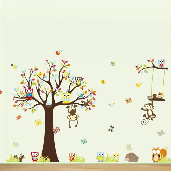 Sticker decorare camere bebelusi - Maimute si bufnite in copaci 1