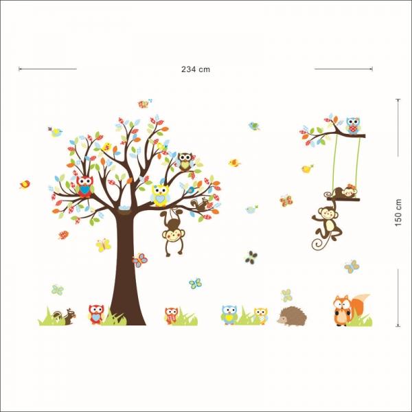 Sticker decorare camere bebelusi - Maimute si bufnite in copaci 3