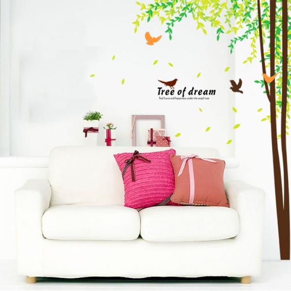 Sticker decorativ camera de zi - Padure si pasari 4