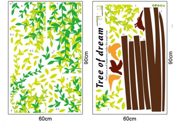 Sticker decorativ camera de zi - Padure si pasari 3