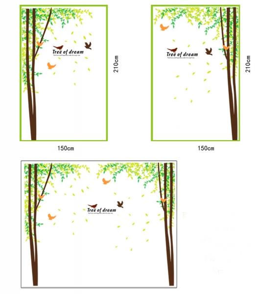 Sticker decorativ camera de zi - Padure si pasari 2