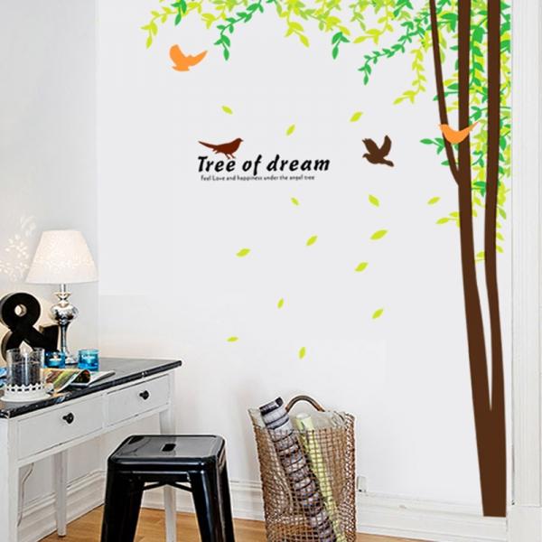 Sticker decorativ camera de zi - Padure si pasari 1
