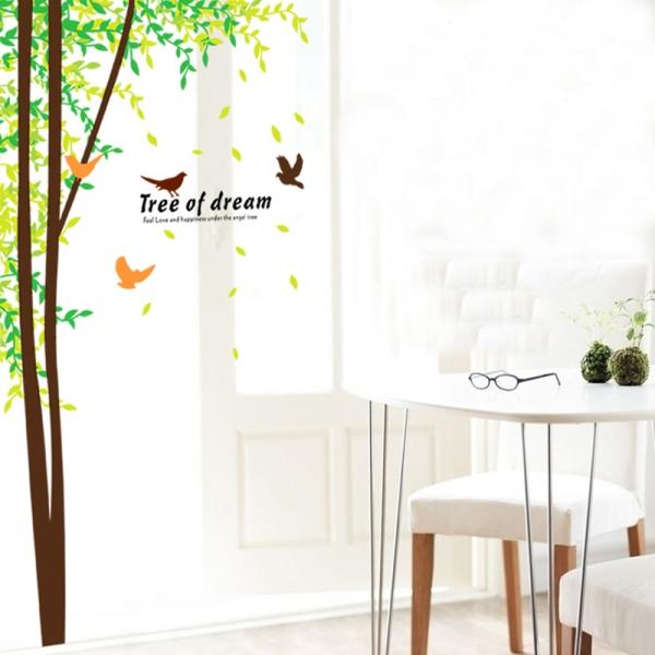 Sticker decorativ camera de zi - Padure si pasari 5