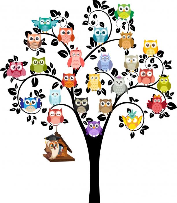 Sticker decorativ - Copac cu bufnite - 160x180 cm [0]