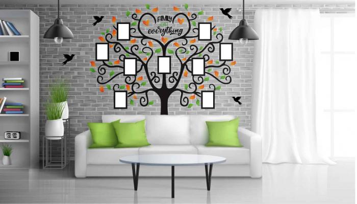 Sticker decorativ - Copac cu rame foto - Family is everything [2]