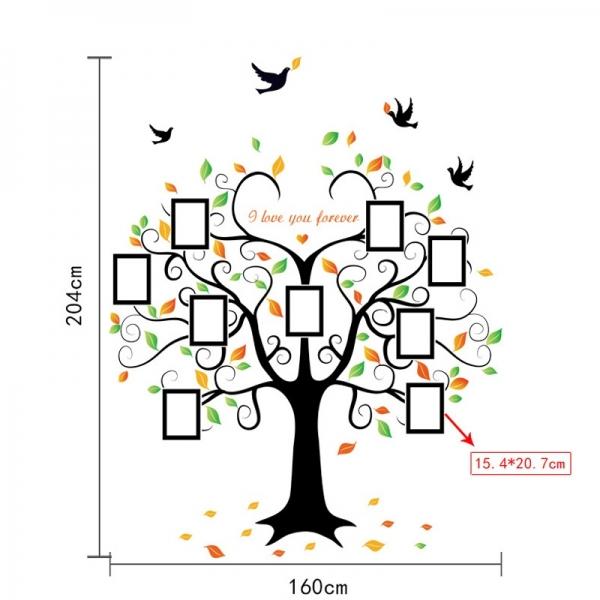 Sticker decorativ - Copacul iubirii cu rame foto 4