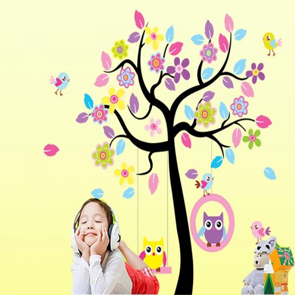 Sticker decorativ copii - Bufnite in leagan 1