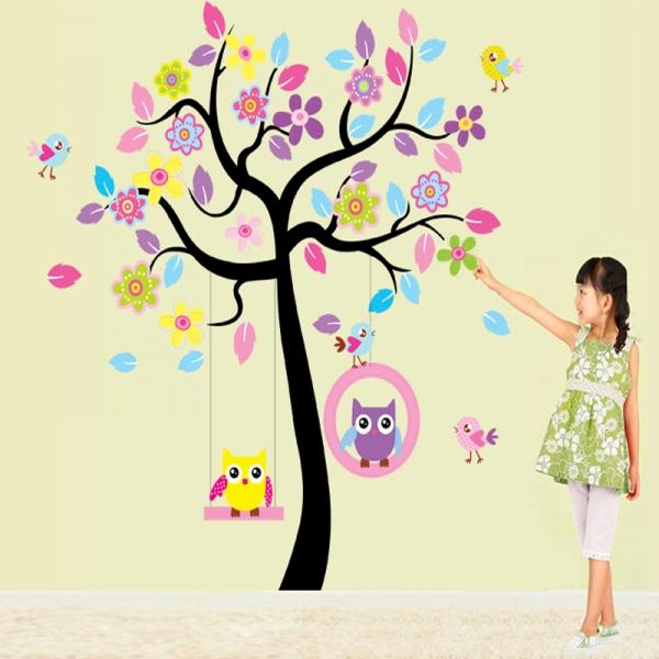 Sticker decorativ copii - Bufnite in leagan 3