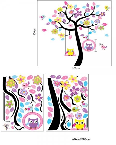 Sticker decorativ copii - Bufnite in leagan 5