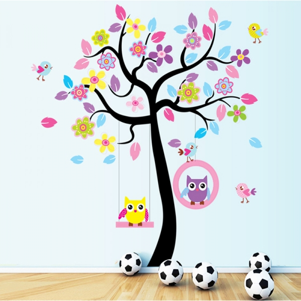 Sticker decorativ copii - Bufnite in leagan 4
