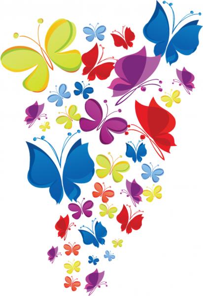 Sticker decorativ copii - Curcubeu de fluturasi 2