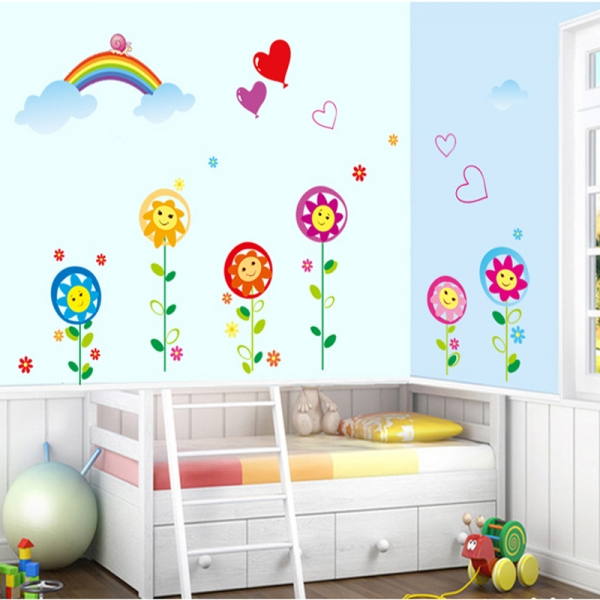 Sticker decorativ copii - Floricele sub curcubeu 0