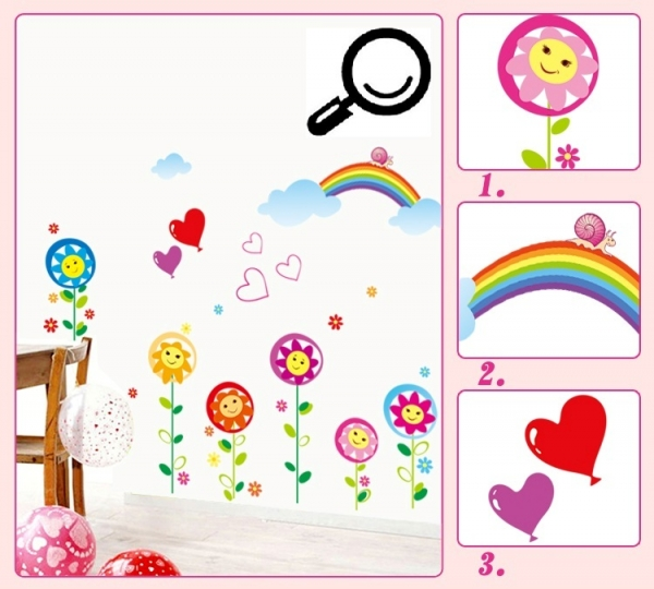 Sticker decorativ copii - Floricele sub curcubeu 6