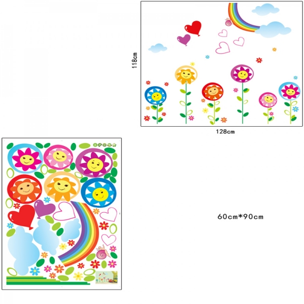 Sticker decorativ copii - Floricele sub curcubeu 5