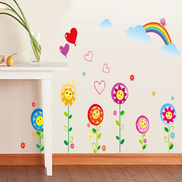 Sticker decorativ copii - Floricele sub curcubeu 2