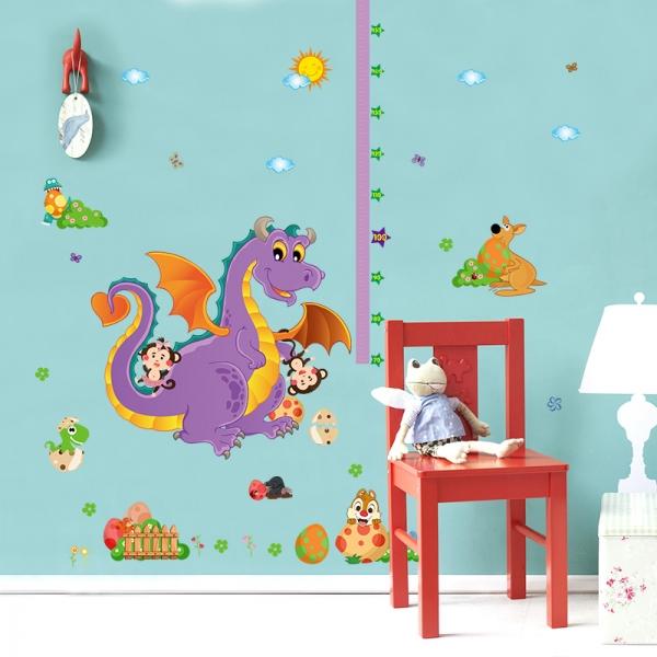 Sticker decorativ copii - Grafic de crestere dragonul prietenos - masurator inaltime 2